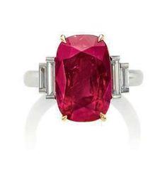 An important 11.01 carats cushion-shaped Mogok, Burma ruby and diamond ring. Estimate CHF770,000 –...