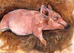 ACEO Sleeping Piggy Hog Straw Watercolor Art Painting illustration Penny StewArt www.pennystewart.com #IllustrationArt