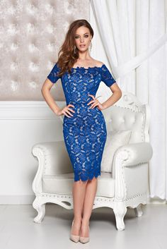 StarShinerS Prestige Enchantment DarkBlue Dress, back zipper fastening, short sleeves, lace overlay, form-fitting, laced fabric, slightly elastic fabric