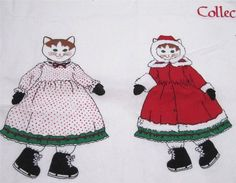 "Christmas Cat Kitten Fabric Panel to Sew Cat and a Dress, Coat, Muff, etc. 18"" tall. Click ""Visit Site"" to see all 12 photos.  #FabricPanel  JustLuvTreasures.com"