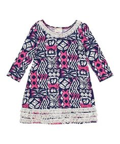 Love this Navy & Fuchsia Abstract Shift Dress - Toddler & Girls on #zulily! #zulilyfinds