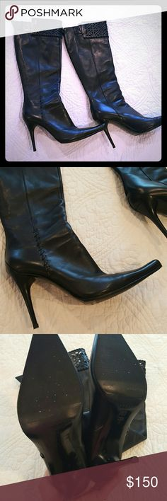 Casadei Stiletto Pointed Toe Boot EUC Gorgeous pair of leather Casadei boots. Stiletto 4in uniquely designed heel. Top of boots have a beautiful lazer cut pattern with leather stitching which makes this boot stand out from the others. Leather soles have been reinforced with thin layer of rubber to prevent slipping and wear. These boots have no flaws that I can see and therefore are listed in EUC. I love them so much, it kills me to get rid of them, but years of nursing have ruined my feet to…