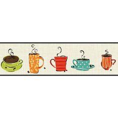 York Wallcoverings KB8500B Coffee Mug Border Sand / Lime / Teal Blue Home Decor Wallpaper Borders