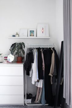 Corners of my bedroom - Clothes rail - Picture ledge. A selection of images taken while styling corners of my own home.