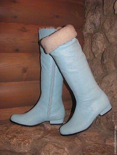 Обувь ручной работы. Ярмарка Мастеров - ручная работа. Купить Сапоги Рождественская сказка. Handmade. Голубой, обувь ручной работы