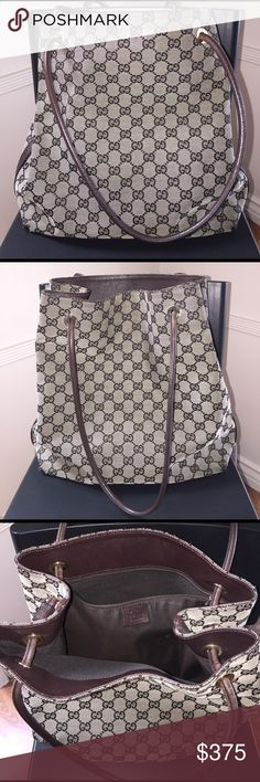 ⚡️Sale⚡️Gucci Canvas tote bag❤️ Authentic Gucci canvas open bag.  Pre loved, kept in good condition.  Minor signs of wear shown :  bottom corners small wears/tears.  Tiny scratches on on some of leather trim on sides.  Leather handle through opening shows a bit of fading due to overtime use.  Odor free and inside is clean. Gucci Bags Shoulder Bags