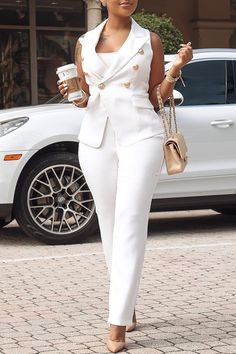 Ericdress Plain Button Lapel White Womens Suit Vest And Pants Two Piece Sets - Outfit Trends Classy Outfits, Stylish Outfits, Stylish Clothes, Cheap Clothes, Cheap Shoes, Work Fashion, Fashion Outfits, Fashion Trends, Fashion Top