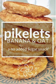 Banana Oat Pikelets An Easy No Added Sugar Free Snack, Breakfast And Lunch Box Filler Great Baby Led Weaning Option My Kids Lick The Bowl 2016 Baby Food Recipes, Gourmet Recipes, Snack Recipes, Cooking Recipes, Dinner Recipes, Cooking Rice, Lunch Box Recipes, Chicken Recipes, Sugar Free Snacks
