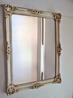 espejo marco frances blanco decapado shabby chic vintage