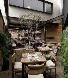Restaurant With Large Open Garden in Lima, Peru.