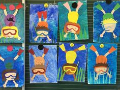 Art in elementary school: divers - Art Education ideas Summer Art Projects, Summer Crafts, Classroom Art Projects, Art Classroom, Kindergarten Art, Preschool Art, Arte Elemental, First Grade Art, Ecole Art
