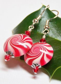 Handmade Beaded Jewelry Earrings Christmas Holiday by Fanceethat, $20.00