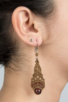 Macrame earrings with Tiger Eye (natural stone)