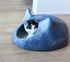 READY TO SHIP Cat bed - cat cave - cat house - eco-friendly handmade felted wool cat bed - blue and natural white Really cute!