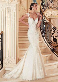 Buy discount Elegant Tulle V-neck Neckline Natural Waistline Mermaid Wedding Dress With Beaded Lace Appliques at Dressilyme.com