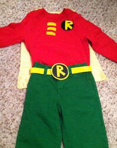 DIY homemade Robin costume, batman and robin, toddler costume, Halloween, superhero