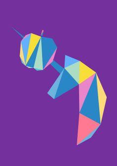 #unicorn #design #art #graphic #horse #illustration #polygon #polyhedra #triangle #onegirlshow #oneposteraday