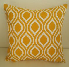 THROW PILLOW Corn Yellow and White Geometric print Throw Pillow Cover 18 x 18 on Etsy, £10.46