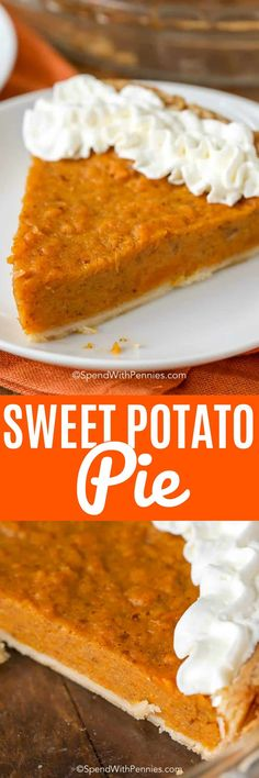 This is the best Sweet Potato Pie recipe you have ever tried! Not only is it incredibly easy to make but the flavor is just perfectly spiced and yet deliciously mild! Köstliche Desserts, Holiday Desserts, Holiday Recipes, Delicious Desserts, Dessert Recipes, Yummy Food, Drink Recipes, Best Scone Recipe, Just Pies