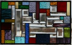 Quilted Sampler Stained Glass Window Panel. $85.00, via Etsy.