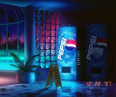 Actualize your musical creations with the cutting-edge cross-media solutions of Aesthetics Corp. New Retro Wave, Retro Waves, New Wave, Soda Machines, Blue Color Schemes, Retro Futurism, Retro Art, Popular Culture, Summer Nights