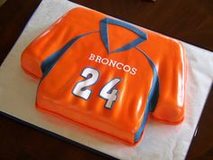 "Denver Broncos Wedding Cake | This is made from a 13""x9"" sheet cake. This Red Velvet, guava filling ..."
