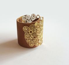 Gold And Leather Cuff Gold Bracelet Boho Chic Brown by eninaj