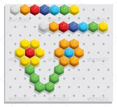 Mosaic Game ...  block, build, cellular, child, childhood, color, construct, construction, element, game, geometric, hexagon, kit, mosaic, piece, plastic, play, puzzle, together