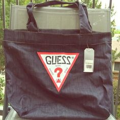 NWT Guess Denim Tote Bag I have 2 available both NWT very light weight great for travel , the beach or anywhere ! Guess Bags Totes