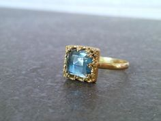 SALE!  Blue topaz ring,gold ring,square ring,gemstone ring,birthday gift,wedding ring,december ring,birthstone ring by candybohojewelry on Etsy https://www.etsy.com/listing/218447679/sale-blue-topaz-ringgold-ringsquare