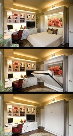 20 Tiny Bedroom Hacks Help You Make the Most of Your Space.Guest Room/Office with Murphy Bed Guest Bedroom Office, Guest Bedrooms, Teenage Bedrooms, Cottage Bedrooms, White Bedrooms, Cama Murphy, Murphy Bed Plans, Murphy Beds, Queen Murphy Bed
