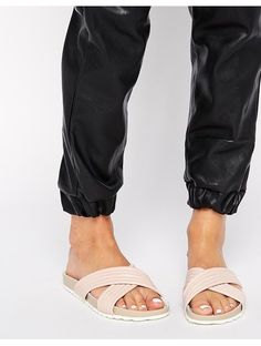 Dune Jolene Leather Cross Strap Slider Sandals - Pink