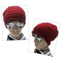 af98ab107c7 Unisex Winter Plicate Baggy Beanie Knit Crochet Ski Hat Oversized Cap Hat  Warm Red