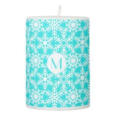 Modern Winter Snowflake Web any color Pillar Candle
