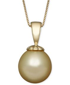 Golden South Sea Pearl (10mm) Pendant Necklace in 14k Gold