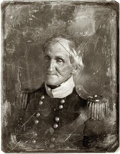 "New York or Washington circa 1844-1851. ""General Hugh Brady,  head-and-shoulders portrait, facing three-quarters left, in military  uniform."" Half-plate daguerreotype from the studio of Mathew Brady.  (Amphalon @flickr)"