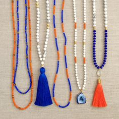 Blue and Orange Gameday Necklaces by LovesAffect on Etsy