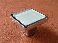 White Glass Knobs Square / Dresser Drawer Knobs by ARoseRambling