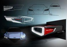 Audi Quattro Sport E-Tron Concept - Headlight detail Design Sketches