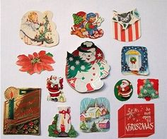 75 Vintage Christmas Seals, Stickers + 1 Gift Card - Dennison (12/10/2012)