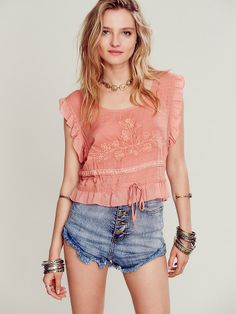 Free People Sleeveless Embroidered Crop Top, $78.00