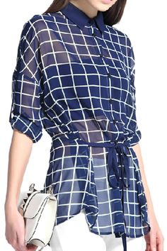 Batwing Sleeved Check Blue Shirt