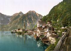 Photochrome of Hallstatt - a small village in the district of Gmunden Austria c.1890's [3456 x 2502]
