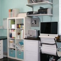 blue and white craft room / office space