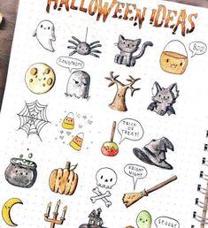 Cute Halloween doodles by @elise.studies   bullet journal doodles   doodling ideas
