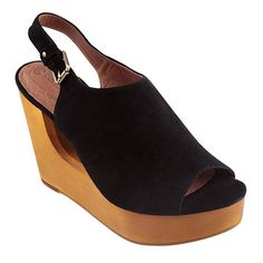 Marleen Wooden Wedge Black, $155, now featured on Fab.
