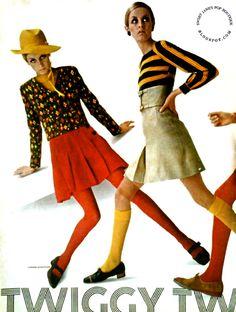 Twiggy models a wardrobe designed by Seventeen Magazine-July Photographer Carmen Schiavone. Image scanned by Sweet Jane. Retro Fashion 60s, 60 Fashion, Fashion Models, Vintage Fashion, Preppy Mode, Preppy Style, Twiggy Model, Twiggy Style, Colleen Corby