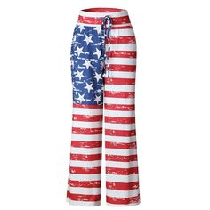 cb2203bc5c0 Women American Flag Drawstring Wide Leg Pants Leggings Item specifics  Gender Women Season Spring
