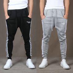 Men's Women's Casual Sport Taper sweat Pants Trousers Sweatpants Joggers Stripes | eBay