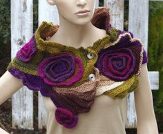 Crochet Scarf Freeform crochet Roses Button Womens scarf Capelet Neck Warmer Scadows Green Purple Brown unique desing textured scarf